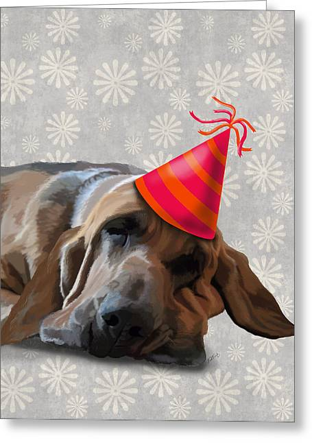 Blood Hound After The Party Greeting Card by Kelly McLaughlan