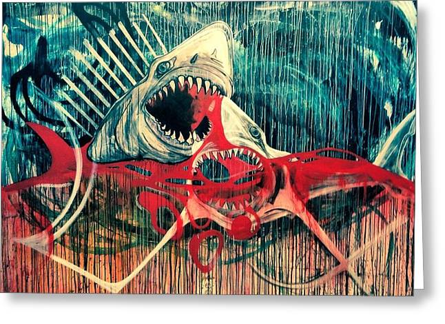 White Shark Mixed Media Greeting Cards - Blood in The Water Greeting Card by Elizabeth Dixon