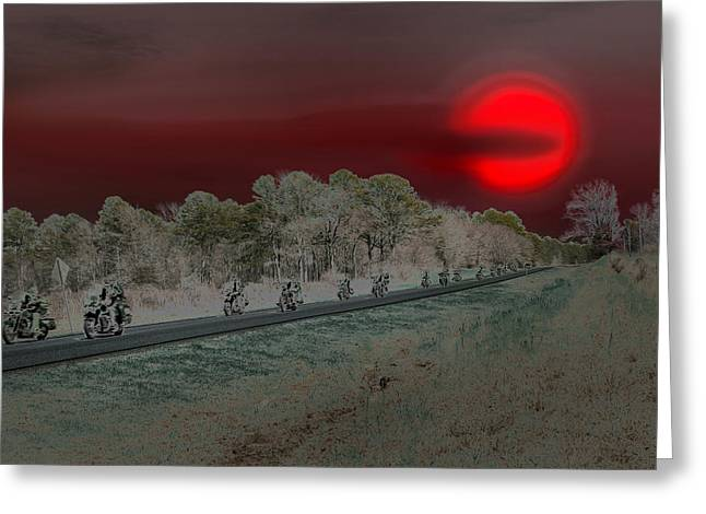 Blood Moon And Speed Greeting Card by Nina Fosdick