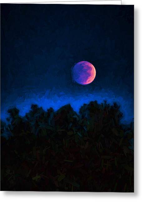Moon Set Digital Art Greeting Cards - Blood Moon Digital Painting Greeting Card by Vizual Studio