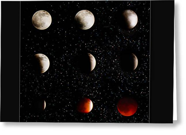 Blood Moon Greeting Cards - Blood Moon Lunar Eclipse 2014 Color Greeting Card by La Rae  Roberts
