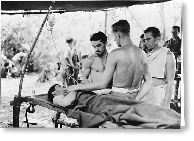 Medic Greeting Cards - Blood plasma transfusion, World War II Greeting Card by Science Photo Library