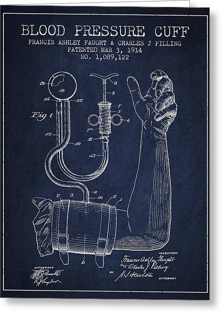 Cuff Greeting Cards - Blood Pressure Cuff Patent from 1914 Greeting Card by Aged Pixel