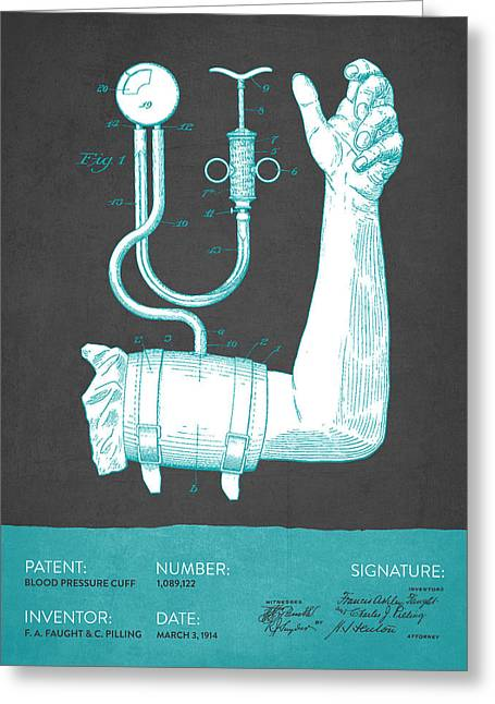 Blood Greeting Cards - Blood Pressure Cuff Patent from 1914 - Gray Turquoise Greeting Card by Aged Pixel