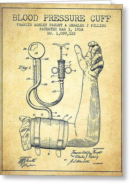 Medical Greeting Cards - Blood Pressure Cuff Patent from 1914 -Vintage Greeting Card by Aged Pixel