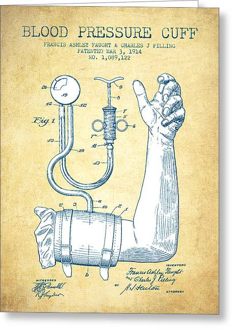 Blood Greeting Cards - Blood Pressure Cuff Patent from 1914 - Vintage Paper Greeting Card by Aged Pixel
