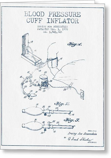 Pulse Greeting Cards - Blood Pressure Cuff Patent from 1970 - Blue Ink Greeting Card by Aged Pixel