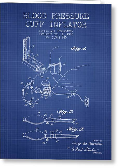 Cuff Greeting Cards - Blood Pressure Cuff Patent from 1970 - Blueprint Greeting Card by Aged Pixel