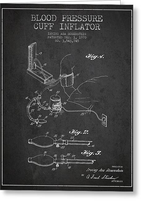 Pulse Greeting Cards - Blood Pressure Cuff Patent from 1970 - Dark Greeting Card by Aged Pixel