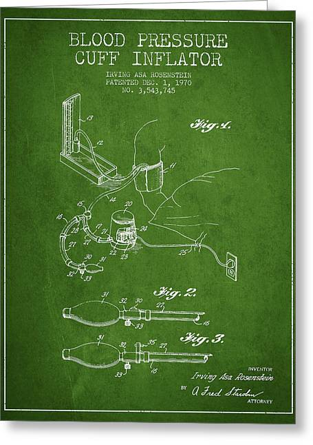 Cuff Greeting Cards - Blood Pressure Cuff Patent from 1970 - Green Greeting Card by Aged Pixel
