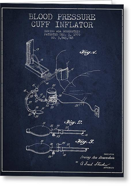 Cuff Greeting Cards - Blood Pressure Cuff Patent from 1970 - Navy Blue Greeting Card by Aged Pixel