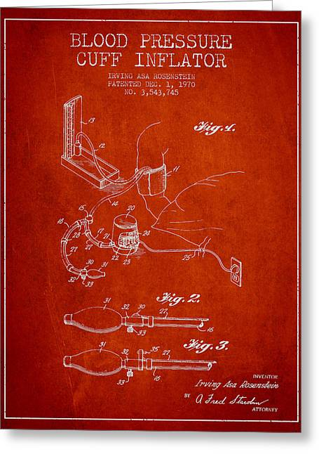 Cuff Greeting Cards - Blood Pressure Cuff Patent from 1970 - Red Greeting Card by Aged Pixel