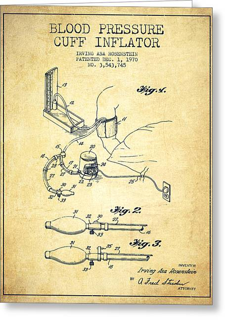Cuff Greeting Cards - Blood Pressure Cuff Patent from 1970 - Vintage Greeting Card by Aged Pixel