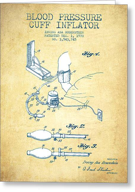 Blood Pressure Greeting Cards - Blood Pressure Cuff Patent from 1970 - Vintage Paper Greeting Card by Aged Pixel