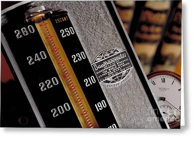 Blood Pressure Greeting Cards - Blood Pressure Kit Greeting Card by Brooks / Brown