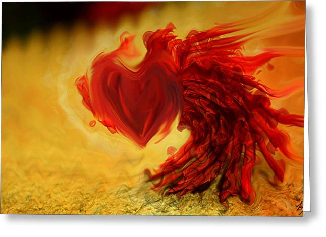 Blood Red Heart Greeting Card by Linda Sannuti