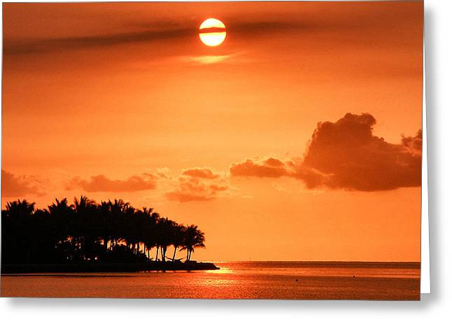 Lonesomeness Greeting Cards - Blood Red Sunset Greeting Card by Gene Tewksbury