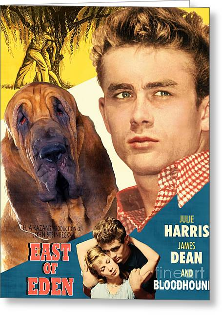 Bloodhounds Greeting Cards - Bloodhound Art Canvas Print - East Of Eden Movie Poster Greeting Card by Sandra Sij