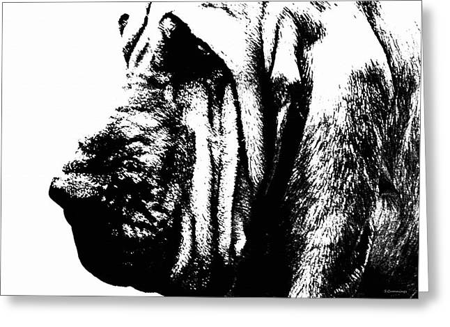 Bloodhound - It's Black And White - By Sharon Cummings Greeting Card by Sharon Cummings
