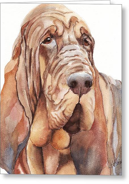 Bloodhounds Greeting Cards - Bloodhound Greeting Card by Linda Halom