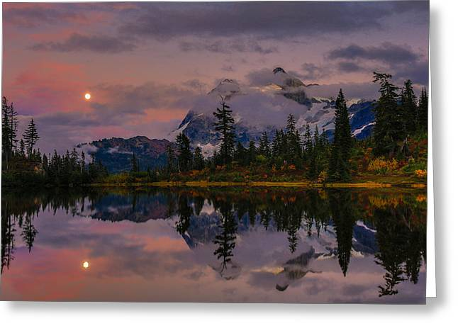 Moon Rise Greeting Cards - Bloodmoon rise over Picture lake Greeting Card by Eti Reid