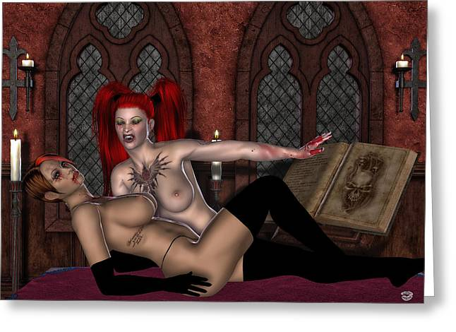 Goth Girl Digital Art Greeting Cards - Bloodthirst  Greeting Card by Todd and candice Dailey