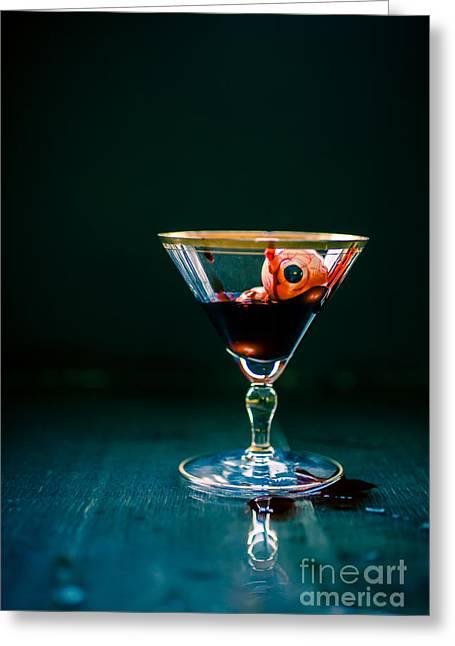 Eyeball Greeting Cards - Bloody eyeball in martini glass Greeting Card by Edward Fielding