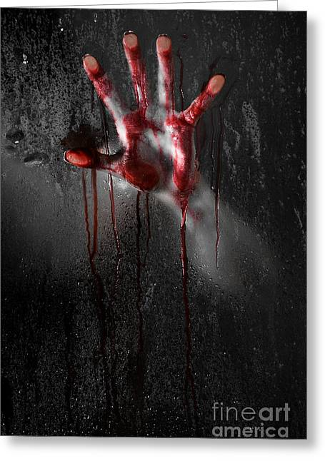 Ghost Hand Greeting Cards - Bloody Hand Greeting Card by Jt PhotoDesign