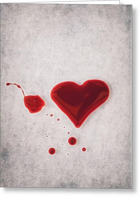 Blood Splatter Greeting Cards - Bloody Heart Greeting Card by Joana Kruse