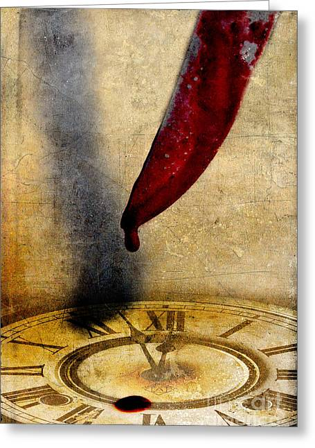 Butcher Knife Greeting Cards - Bloody Knife Dripping on Clock Face Greeting Card by Jill Battaglia