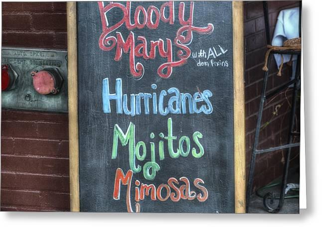 Bloody Marys Greeting Card by Brenda Bryant