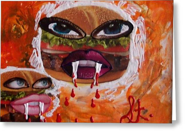 Reserve Mixed Media Greeting Cards - Bloody Meat Greeting Card by Lisa Piper Menkin Stegeman