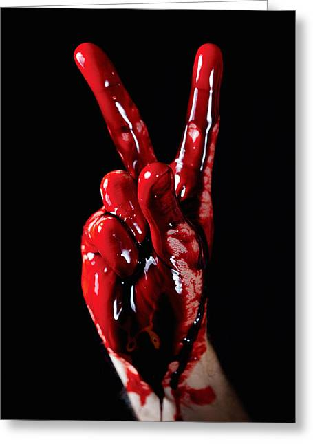 """peace And Love"" Greeting Cards - Bloody Peace Greeting Card by Benoit Beauregard"