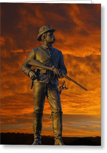Fineartamerica Greeting Cards - Bloody Sunset 2nd Pennsylvania Calvry Monument Greeting Card by Randy Steele