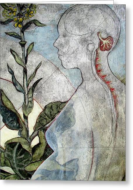 Anatomical Mixed Media Greeting Cards - Bloom detail Greeting Card by Claire Mack