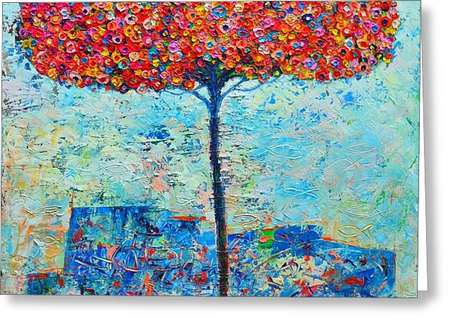 BLOOMING BEYOND KNOWN SKIES - THE TREE OF LIFE - ABSTRACT CONTEMPORARY ORIGINAL OIL PAINTING Greeting Card by ANA MARIA EDULESCU