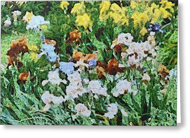 Van Gogh Style Greeting Cards - Blooming Garden Greeting Card by Dragica  Micki Fortuna