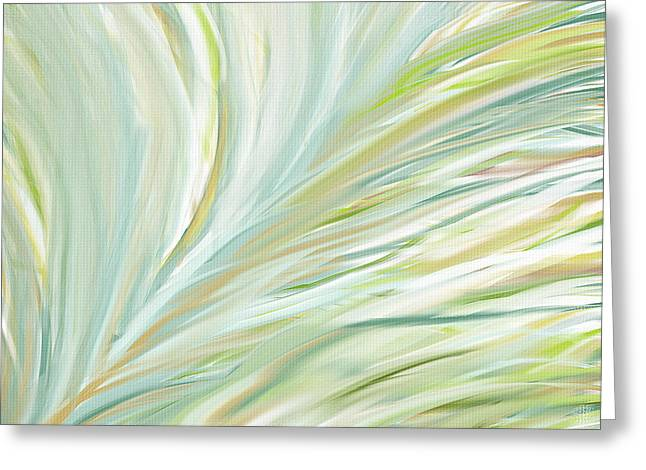 Best Sellers -  - Green And Yellow Abstract Greeting Cards - Blooming Grass Greeting Card by Lourry Legarde