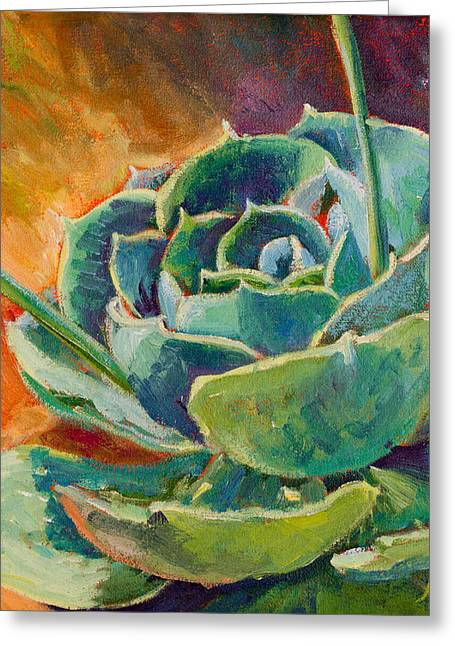 Cactus Greeting Cards - Blooming Hen Greeting Card by Athena Mantle