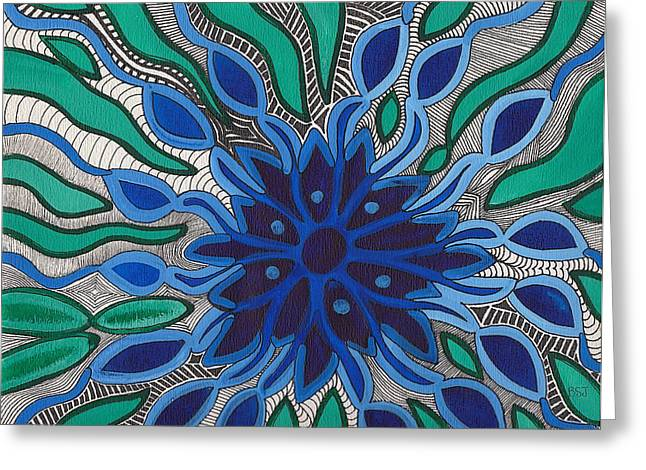 Flower In Pen And Ink Greeting Cards - Blooming in Blue Greeting Card by Barbara St Jean