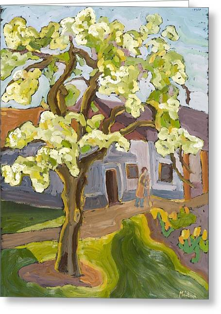 Fruit Trees Greeting Cards - Blooming Pear Tree, 2008 Oil On Board Greeting Card by Marta Martonfi-Benke