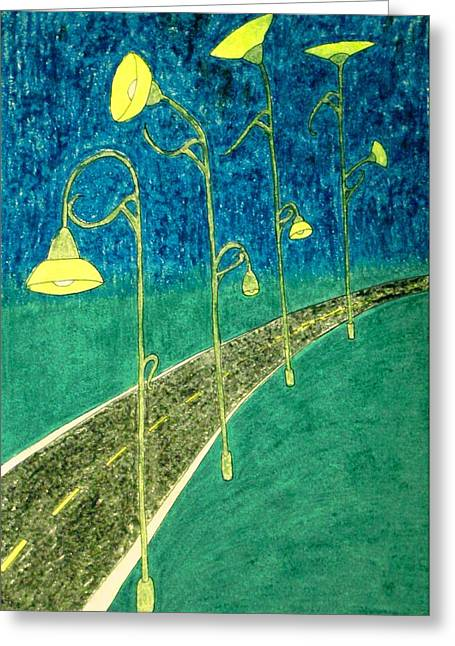 Illuminate Pastels Greeting Cards - Blooming Streetlights Greeting Card by Melody Cook