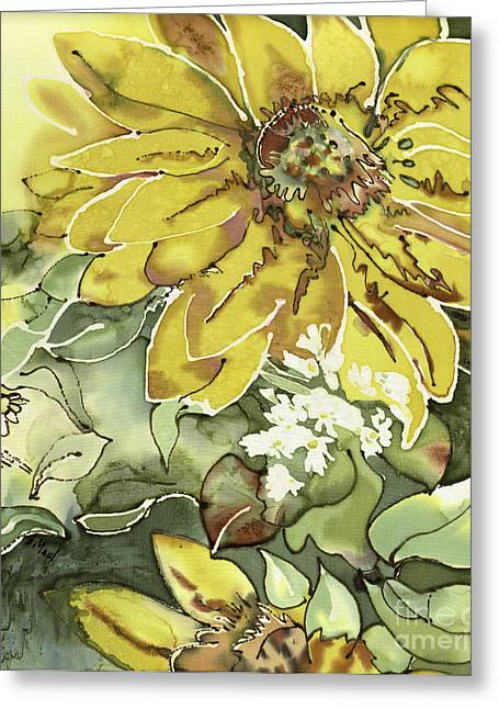 Yellow Sunflower Tapestries - Textiles Greeting Cards - Blooming Sunflower  Greeting Card by Barb Maul