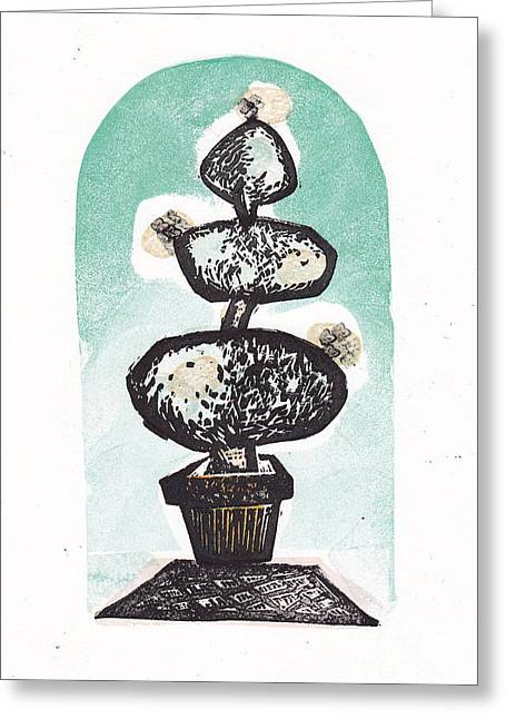 Block Print Art Mixed Media Greeting Cards - Blooming Topiary Greeting Card by Coralette Damme