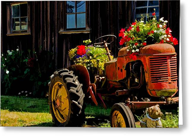 Winery Photography Greeting Cards - Blooming Tractor Art Greeting Card by Jordan Blackstone