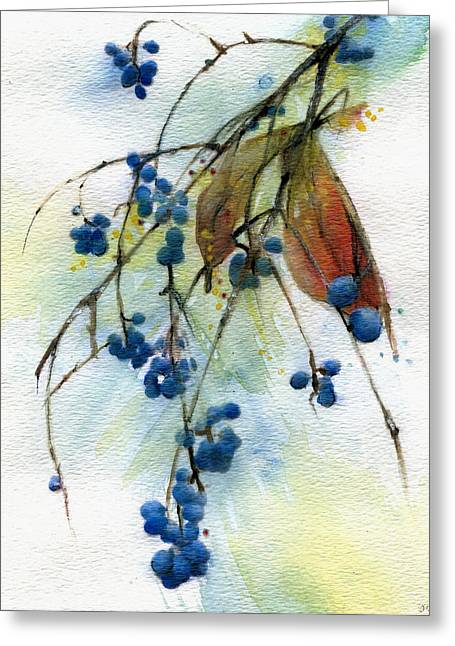 Indiana Flowers Paintings Greeting Cards - Bloomington Indiana Berries Greeting Card by John Christopher Bradley