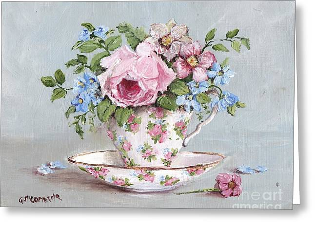Floral Still Life Greeting Cards - Blooms in a Tea Cup Greeting Card by Gail McCormack