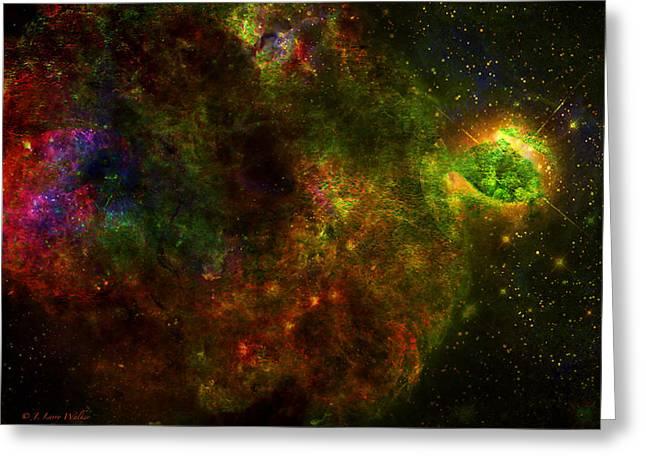 Universe Digital Art Greeting Cards - Blooms In Space Greeting Card by J Larry Walker