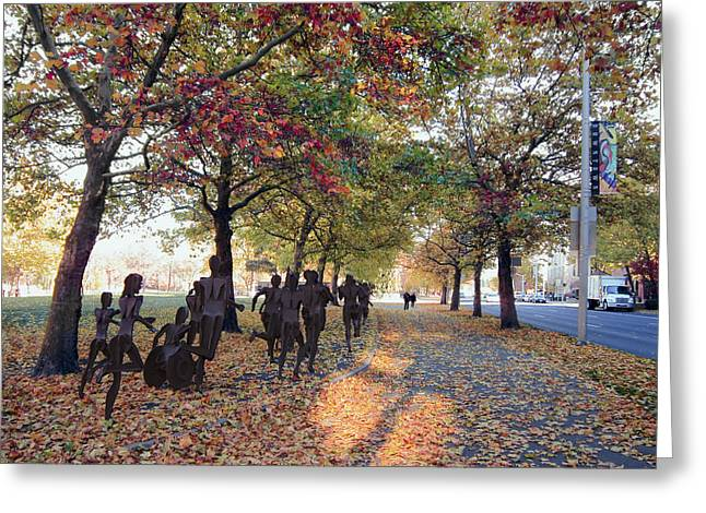 Jogging Greeting Cards - Bloomsday Autumn Finish - Spokane Washington Greeting Card by Daniel Hagerman