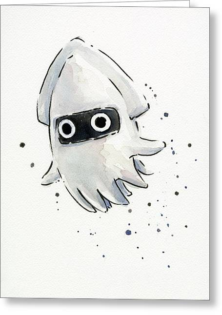 Squid Greeting Cards - Blooper Watercolor Greeting Card by Olga Shvartsur